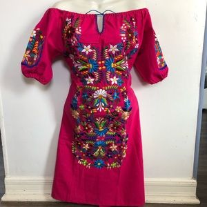 Dresses & Skirts - Pink Dress, Mexican embroidered Dress, Vestido